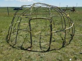 Inipi Rattler built in dedication to all water protectors with federal charges; the 7th Generation Lodge