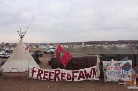 Free RedFawn advocacy at NoDAPL Oceti Sakowin overflow camp 2016 (photo from WPLC article)