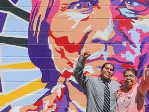 Dion Ortiz with his mother, Christina, in North Dakota -Photo Credit: Santa Fe Chronicle