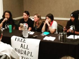 Family members/legal aid of incarcerated Water Protectors speaking at National Lawyer's Guild 2018 convention with WPLC staff. (Photo Credit: Christopher Francisco)